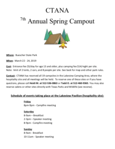 CTANA Spring Campout @ Buescher State Park | Smithville | Texas | United States