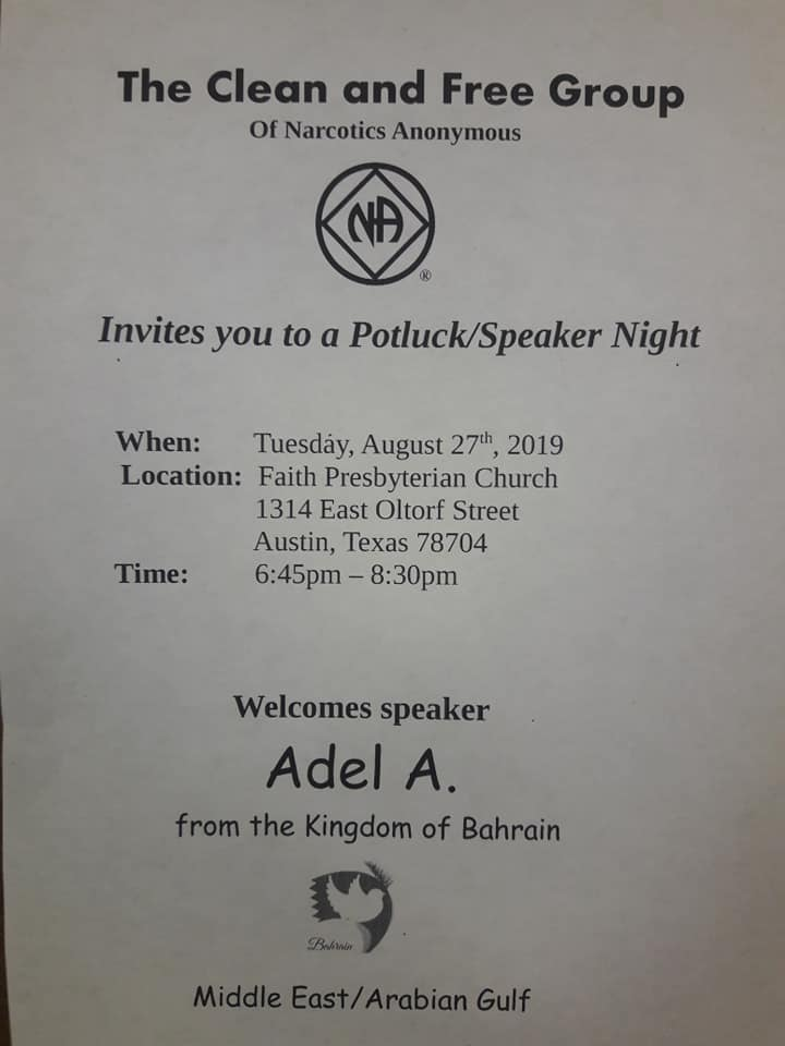 Clean and Free Group - Potluck Dinner and Speaker Night | Adel A. from the Kingdom of Bahrain ) @ Faith Presbyterian Church | Austin | Texas | United States