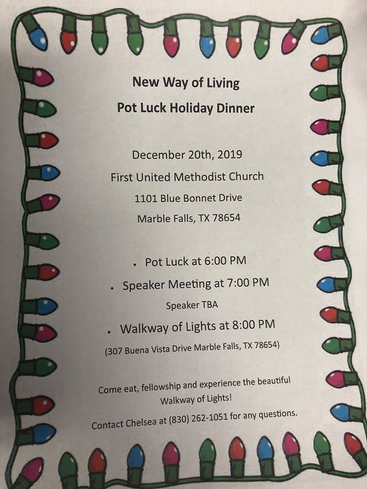 New Way of Living | Holiday Potluck Dinner & Speaker | Trail of Lights @ First United Methodist Church | Marble Falls | Texas | United States