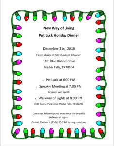 New Way Of Living Pot Luck DInner @ First United Methodist Church | Marble Falls | Texas | United States