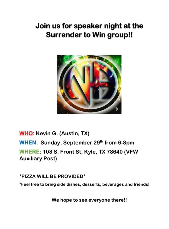 Surrender to Win | Speaker & Pizza Night @ VFW Post #12058 | Kyle | Texas | United States
